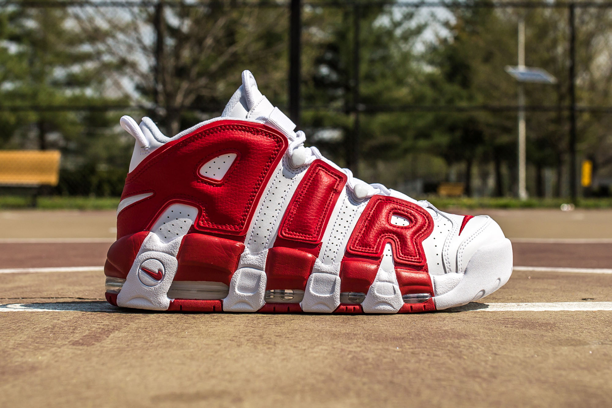 Nike Air More Uptempo white-gym red web crop side