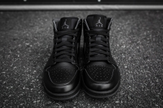 Air Jordan 1 Mid Black-Black-Dark Grey Noir-4