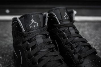Air Jordan 1 Mid Black-Black-Dark Grey Noir-6