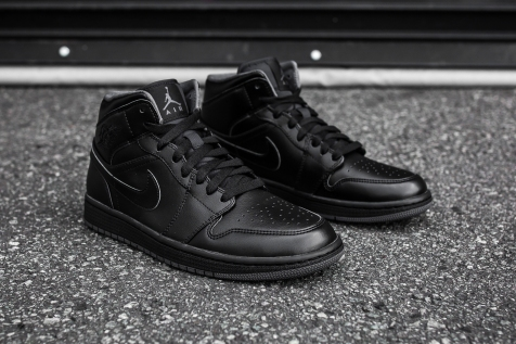 Air Jordan 1 Mid Black-Black-Dark Grey Noir angle