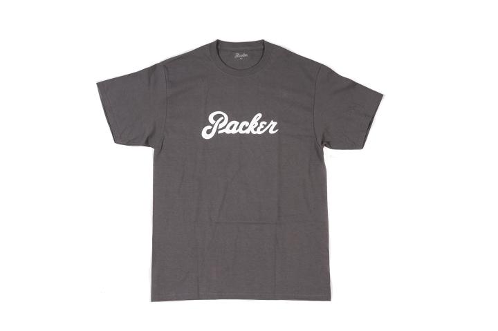 Packer Chest Logo T Shirt Graphite-White front