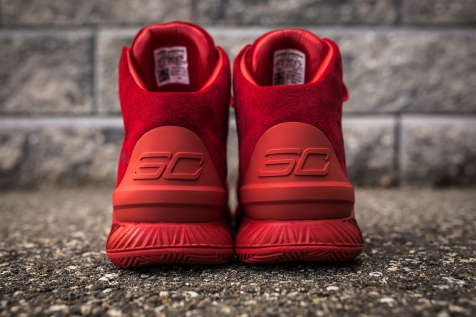 Under Armour Curry 1 Mid Red-Red Suede back