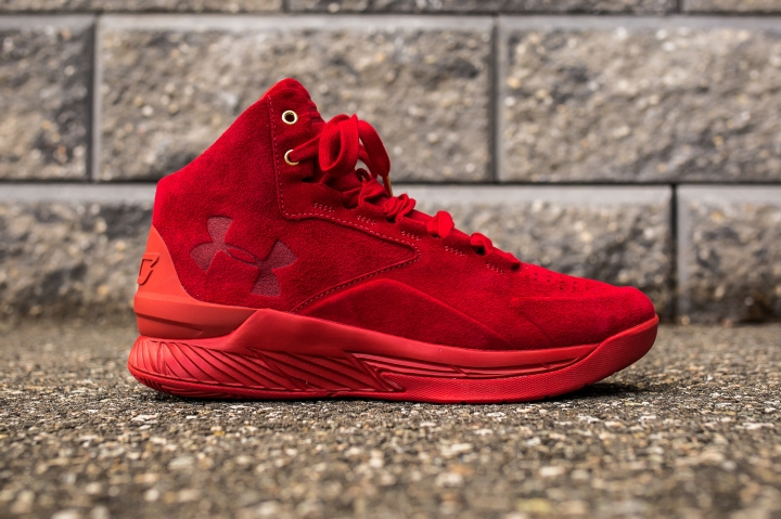 Under Armour Curry 1 Mid Red-Red Suede side