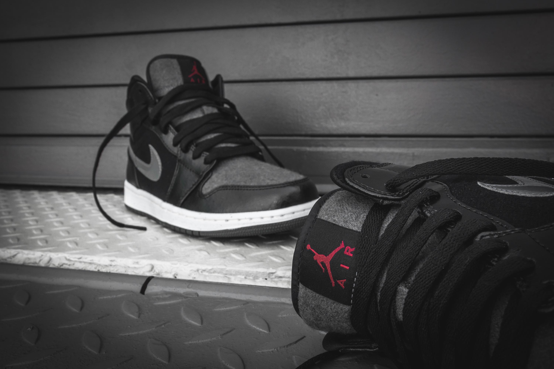 ... black gym red drak grey 13e89 49078  hot air jordan 1 mid premium wool  packer shoes 0fa10 9d006 c4fef5f13