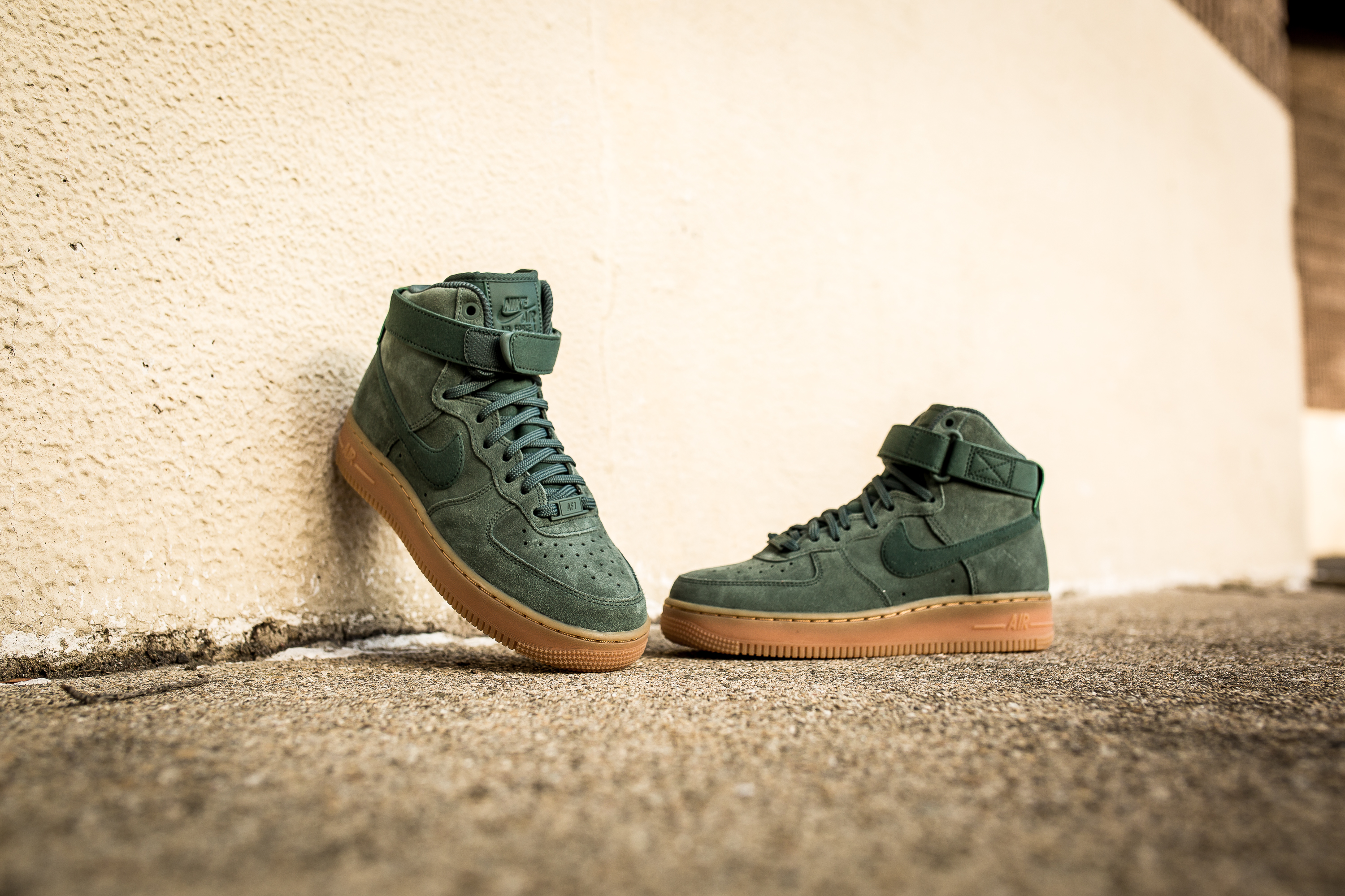 dd6f1cb3a67 Nike Air Force 1 High 07 LV8 Suede Vintage Green Gum Medium Brown Ivory  Womens Mens Shoes