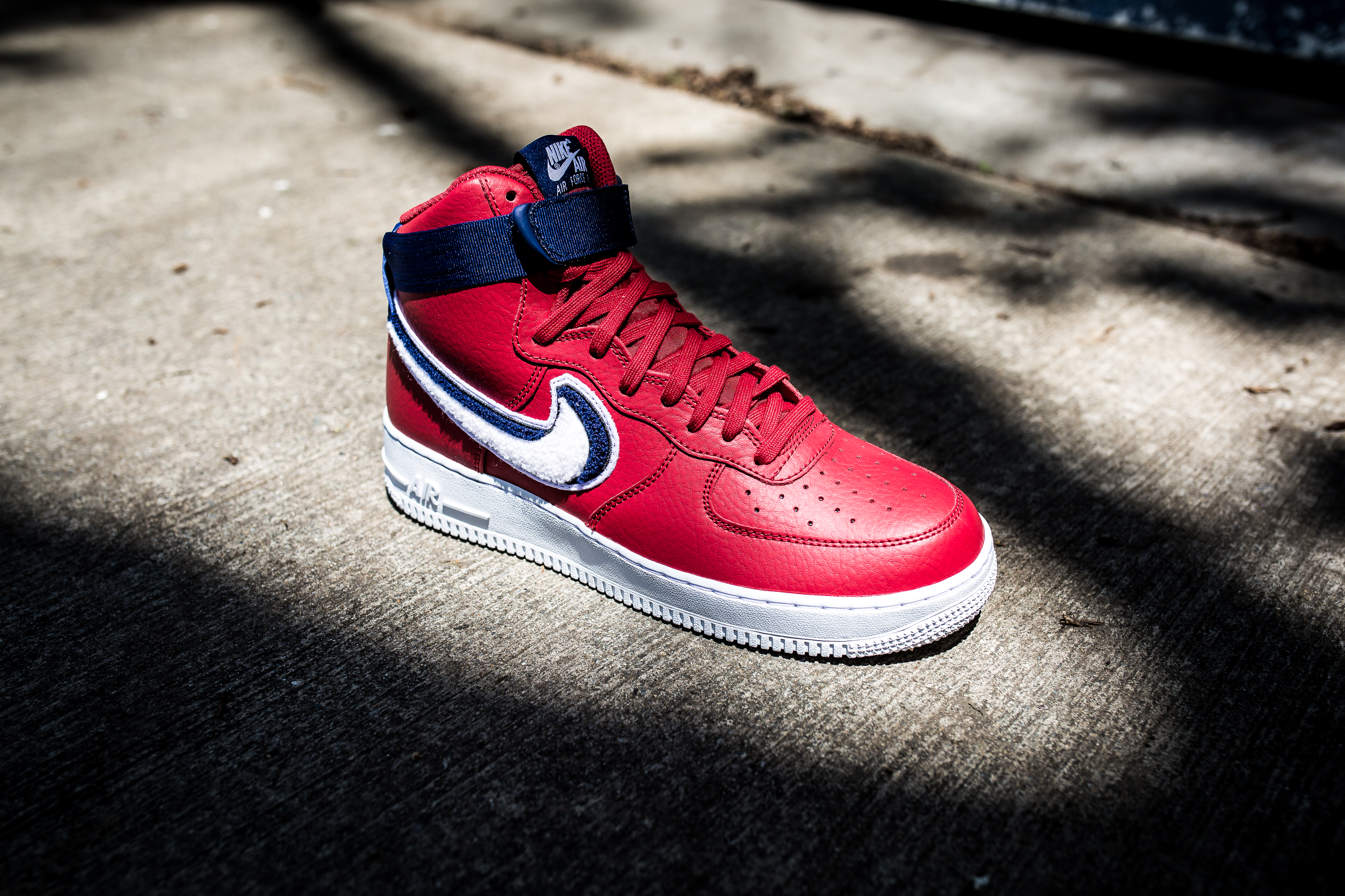 sale retailer 62c04 29159 ... 3d chenille swoosh gym red a6b7a aa6ab  sweden nike air force 1 high 07  lv8 gym red white blue void white 110 8d138